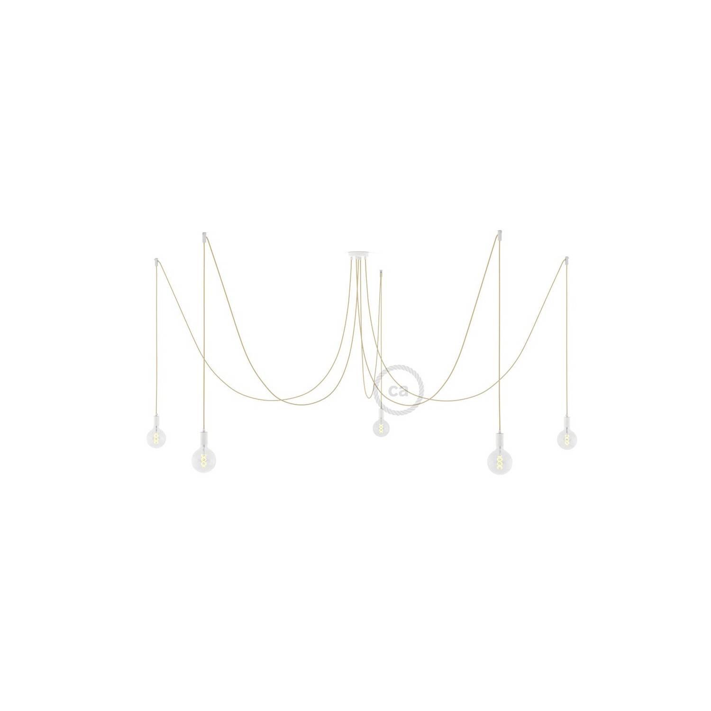 Spider, sospensione multipla a 5 cadute, metallo bianco, cavo RN06 Juta, Made in Italy.