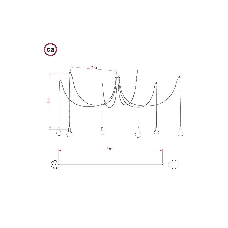 Spider, sospensione multipla a 6 cadute, metallo bianco, cavo RN02 Grigio, Made in Italy.