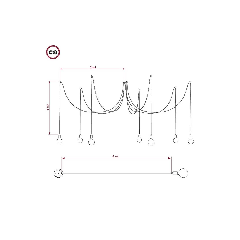 Spider, sospensione multipla a 7 cadute, metallo bianco, cavo RN02 Grigio, Made in Italy.