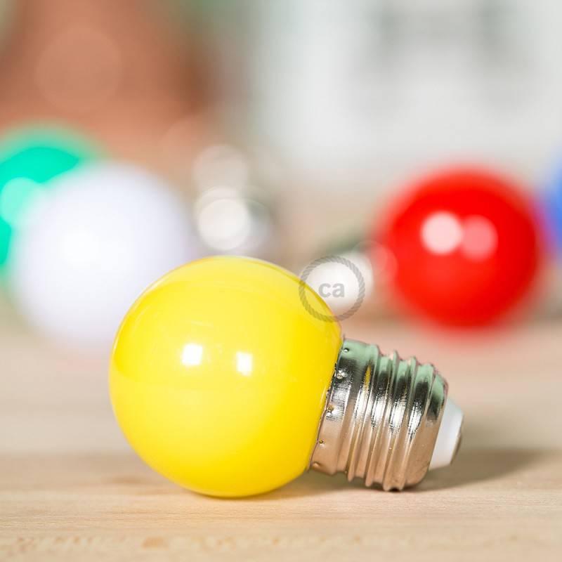 Lampadina LED Globetta G45 Decorativa 1W E27 2700K - Colore Giallo