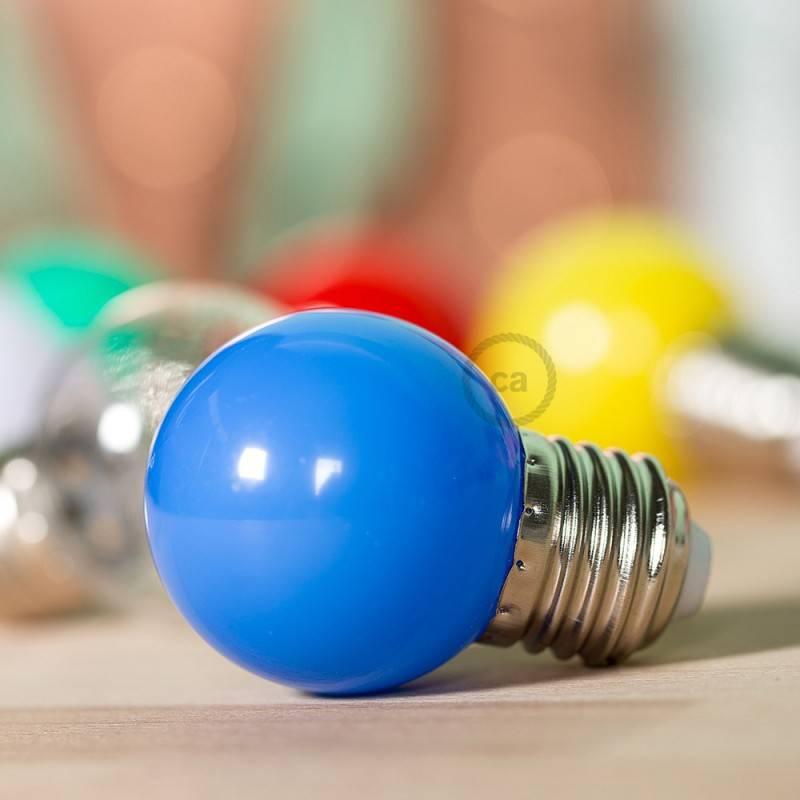 Lampadina LED Globetta G45 Decorativa 1W E27 2700K - Colore Blu