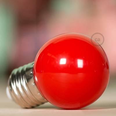 Lampadina LED Globetta G45 Decorativa 1W E27 2700K - Colore Rosso