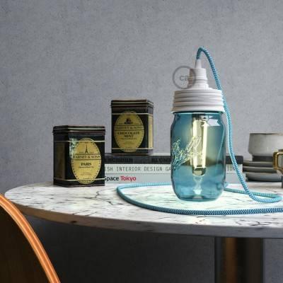 Kit illuminazione barattolo di vetro in metallo Bianco, con serracavo conico e portalampada E14 in bakelite Bianco