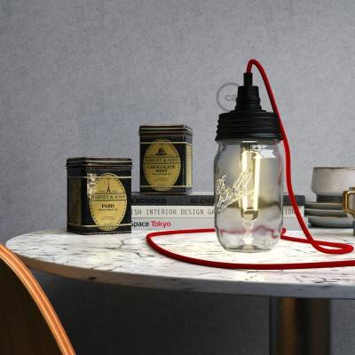 Kit illuminazione barattolo di vetro in metallo Nero, con serracavo cilindrico e portalampada E14 in bakelite Nero