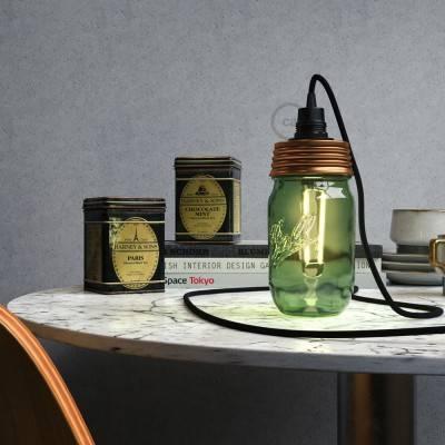 Kit illuminazione barattolo di vetro in metallo Bronzo, con serracavo conico e portalampada E14 in bakelite Nero