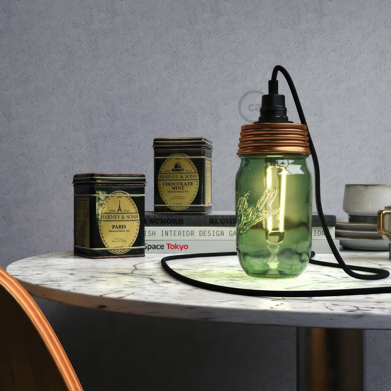 Kit illuminazione barattolo di vetro in metallo Bronzo, con serracavo cilindrico e portalampada E14 in bakelite Nero