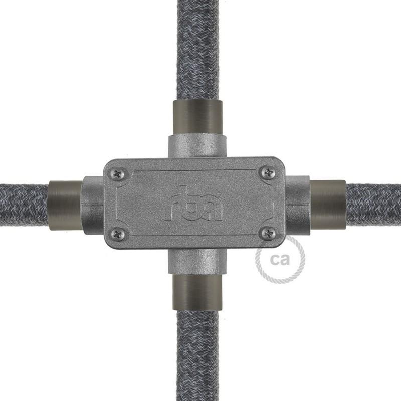 Giunto di derivazione a quattro uscite con forma a X per Creative-Tube, corpo in alluminio