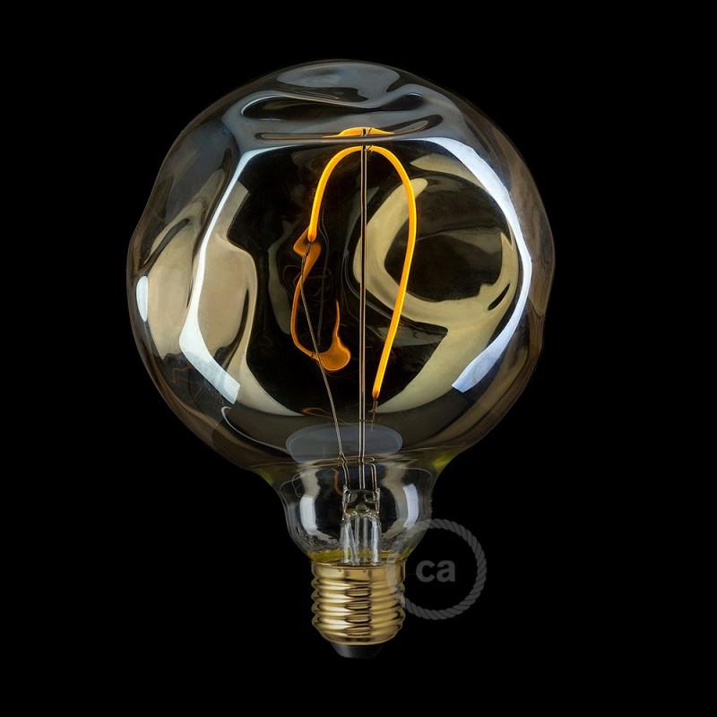 Lampadina Dorata LED Globo G125 con vetro irregolare, Filamento Singolo 2.5W E27 Decorativa Vintage 2000K