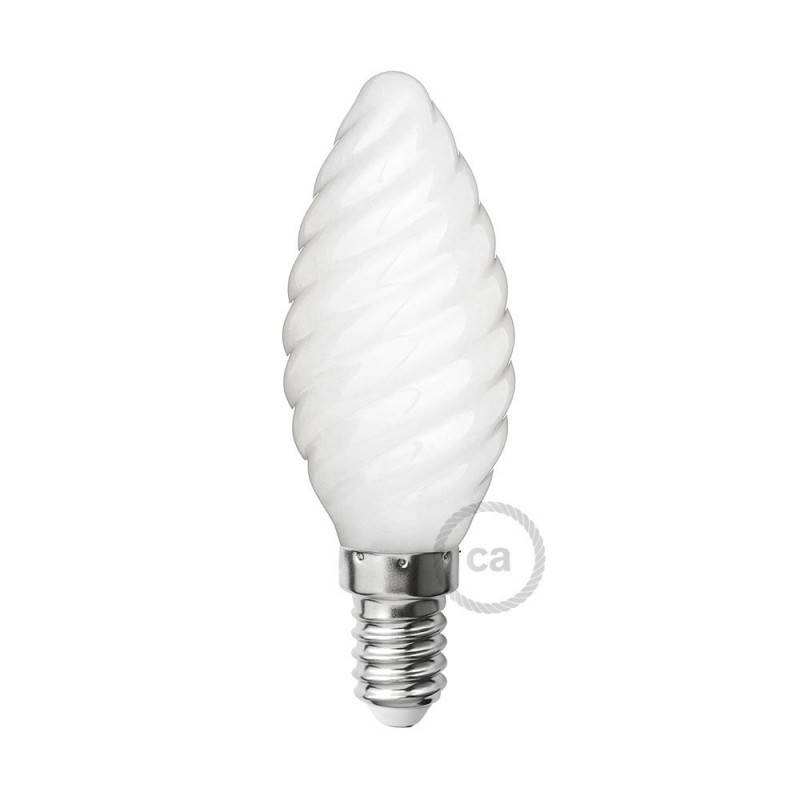 Lampadina bianco latte led tortiglione c35 4w e14 for Lampadine a filamento led