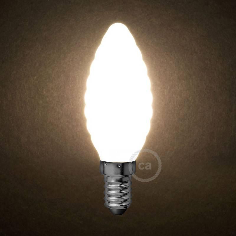 Lampadina Bianco Latte LED Tortiglione C35 4W E14 Dimmerabile 2700K