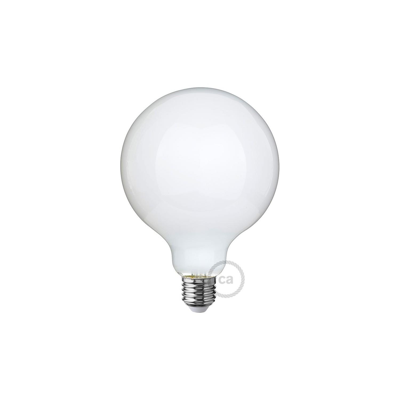 Lampadina bianco latte led globo g125 8w e27 dimmerabile 2700k for Lampadine watt