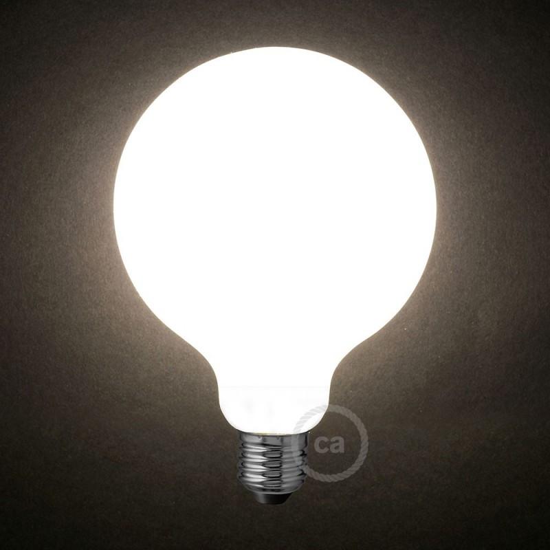 Lampadina Bianco Latte LED Globo G125 8W E27 Dimmerabile 2700K