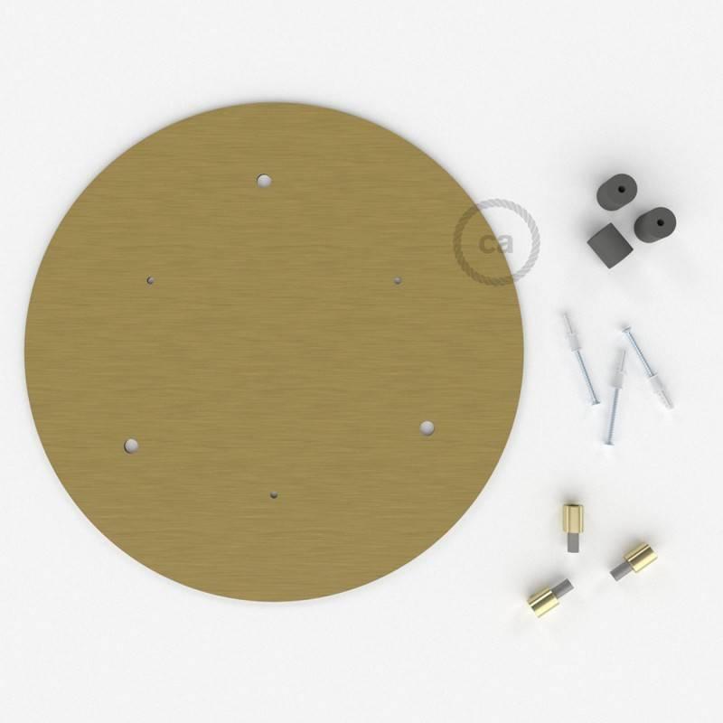 Rosone XXL tondo 35cm a 3 fori ottone satinato completo di accessori.