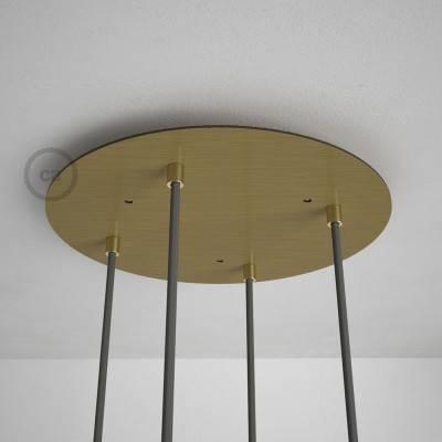 Rosone XXL tondo 35cm a 4 fori ottone satinato completo di accessori.