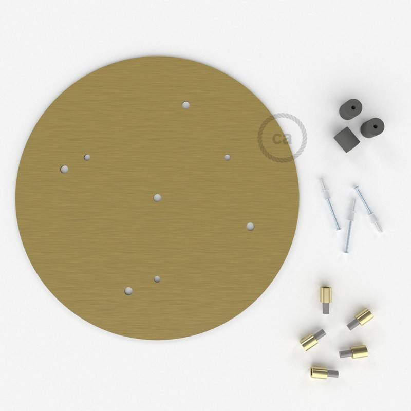 Rosone XXL tondo 35cm a 5 fori ottone satinato completo di accessori.