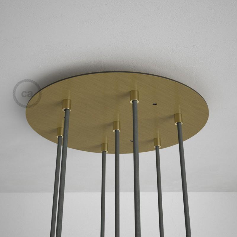 Rosone XXL tondo 35cm a 7 fori ottone satinato completo di accessori.
