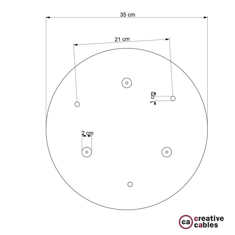 Rosone XXL tondo 35cm a 3 fori acciaio satinato completo di accessori.