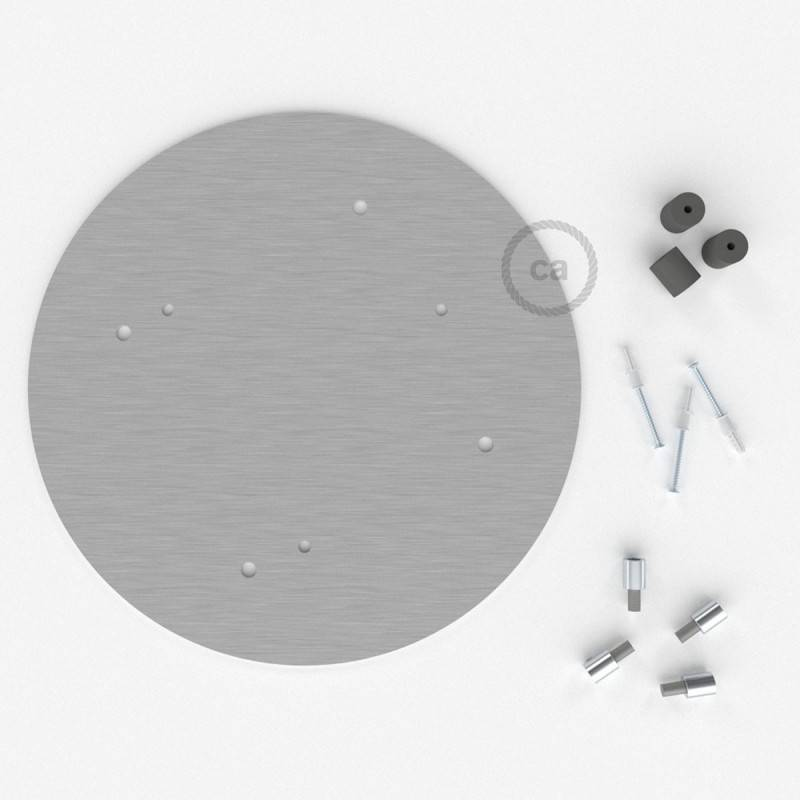 Rosone XXL tondo 35cm a 4 fori acciaio satinato completo di accessori.