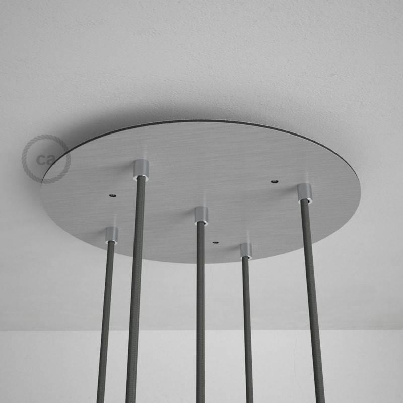 Rosone XXL tondo 35cm a 5 fori acciaio satinato completo di accessori.