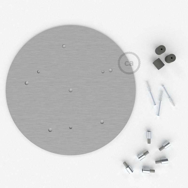 Rosone XXL tondo 35cm a 6 fori acciaio satinato completo di accessori.