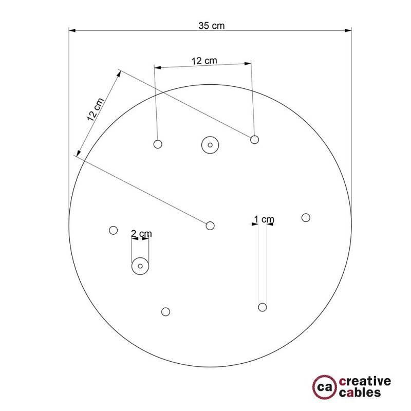 Rosone XXL tondo 35cm a 7 fori acciaio satinato completo di accessori.