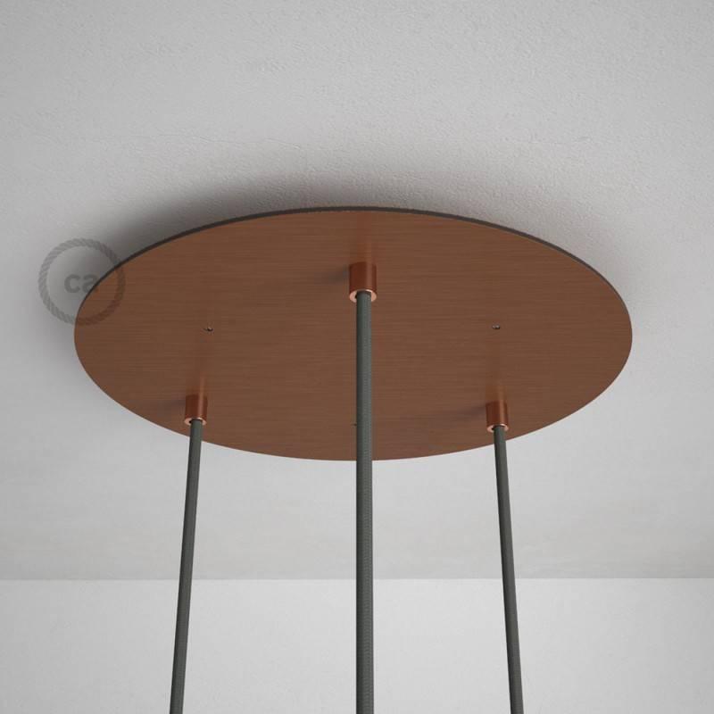 Rosone XXL tondo 35cm a 3 fori rame satinato completo di accessori.