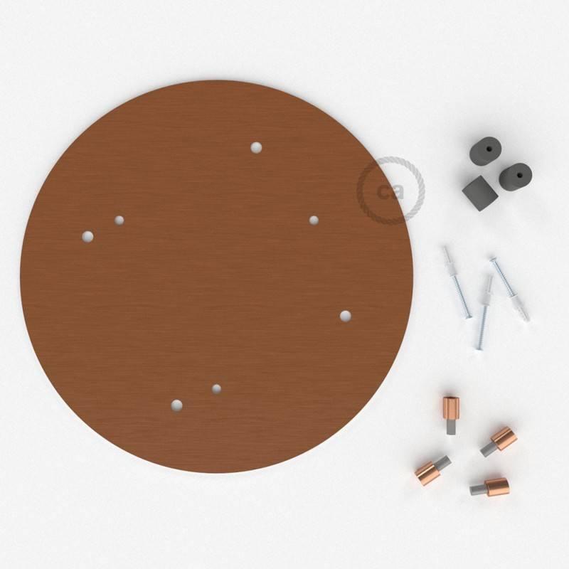 Rosone XXL tondo 35cm a 4 fori rame satinato completo di accessori.