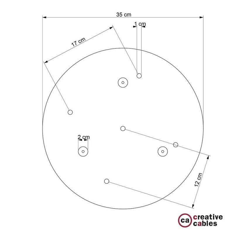 Rosone XXL tondo 35cm a 5 fori rame satinato completo di accessori.