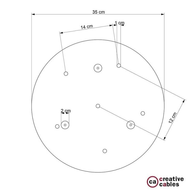 Rosone XXL tondo 35cm a 6 fori rame satinato completo di accessori.