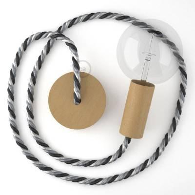 Lampada a sospensione cordone nautico XL in tessuto lucido Orleans 16 mm, finiture in legno naturale, Made in Italy