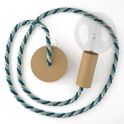Lampada a sospensione cordone nautico XL in tessuto lucido Bernadotte 16 mm, finiture in legno naturale, Made in Italy