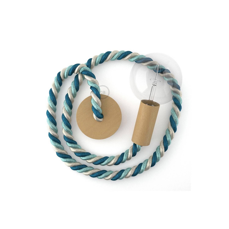Lampada a sospensione cordone nautico 2XL in tessuto lucido Bernadotte 24 mm, finiture in legno naturale, Made in Italy