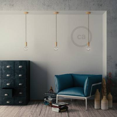 Lampada a sospensione cordone nautico XL in cotone grezzo 16 mm, finiture in legno naturale, Made in Italy