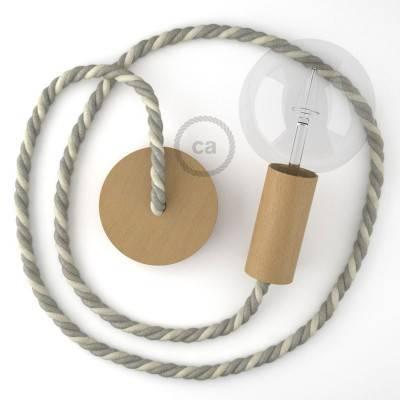 Lampada a sospensione cordone nautico XL in cotone grezzo e lino naturale 16 mm, finiture in legno naturale, Made in Italy