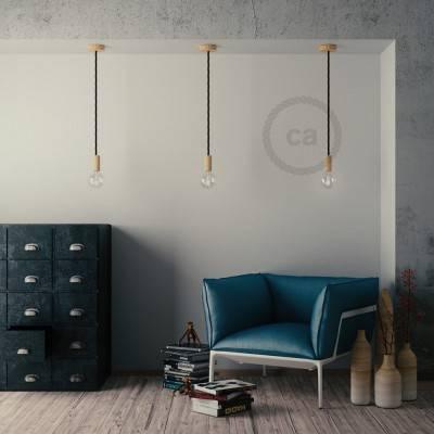 Lampada a sospensione cordone nautico XL in tessuto nero lucido 16 mm, finiture in legno naturale, Made in Italy