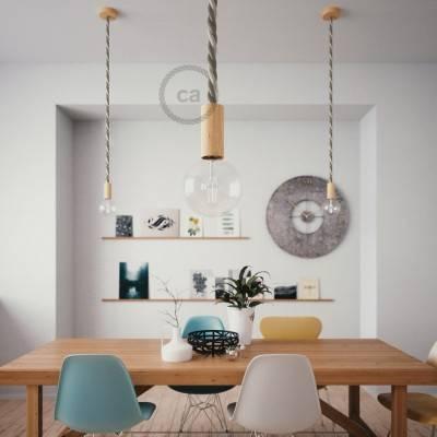 Lampada a sospensione cordone nautico 2XL in cotone grezzo e lino naturale 24 mm, finiture in legno naturale, Made in Italy