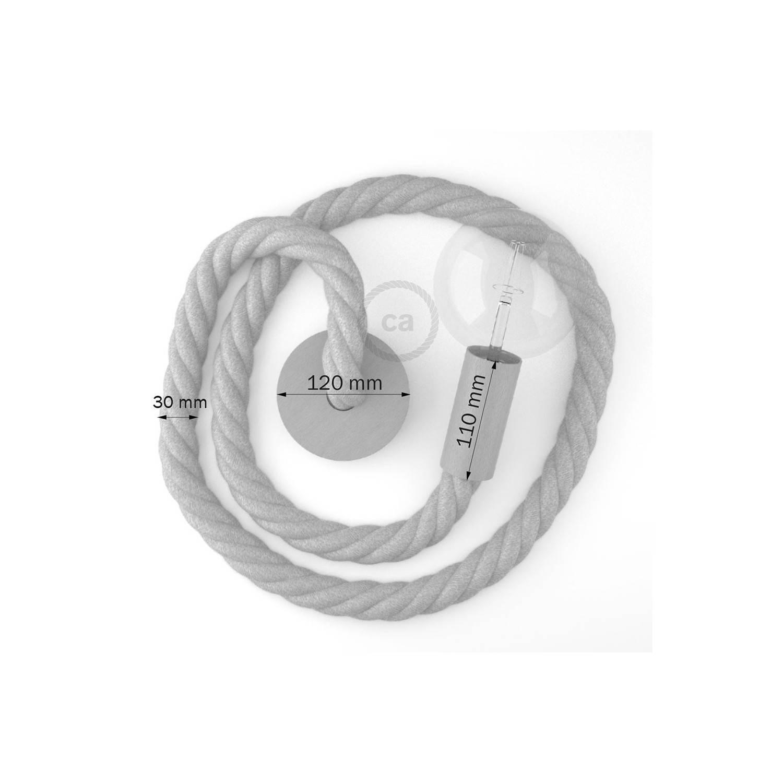 Lampada a sospensione cordone nautico 3XL in cotone grezzo 30 mm, finiture in legno naturale, Made in Italy