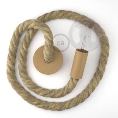 Lampada a sospensione cordone nautico 3XL in juta grezza 30 mm, finiture in legno naturale, Made in Italy