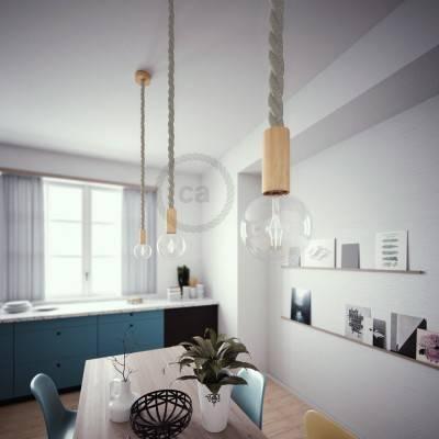 Lampada a sospensione cordone nautico 3XL in lino naturale 30 mm, finiture in legno naturale, Made in Italy