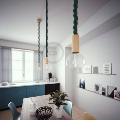 Lampada a sospensione cordone nautico 3XL in tessuto verde scuro lucido 30 mm, finiture in legno naturale, Made in Italy