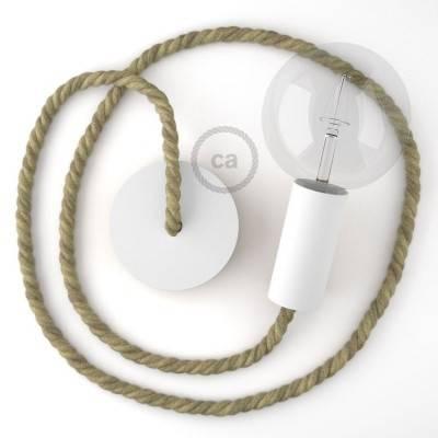 Lampada a sospensione legno verniciato bianco con cordone nautico XL in juta grezza 16 mm, Made in Italy