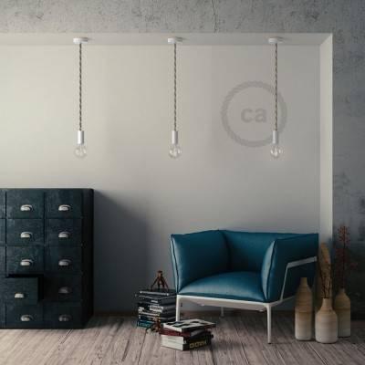 Lampada a sospensione legno verniciato bianco con cordone nautico XL in lino e cotone grezzo 16 mm, Made in Italy