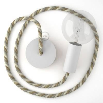 Lampada a sospensione legno verniciato bianco con cordone nautico XL in juta, cotone e lino Country 16 mm, Made in Italy
