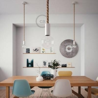Lampada a sospensione legno verniciato bianco con cordone nautico 2XL in juta grezza 24 mm, Made in Italy