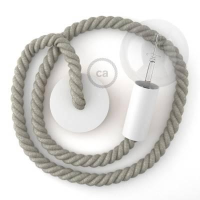 Lampada a sospensione legno verniciato bianco con cordone nautico 2XL in lino naturale 24 mm, Made in Italy
