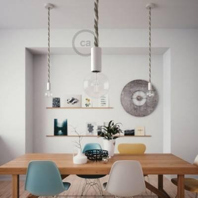 Lampada a sospensione legno verniciato bianco con cordone nautico 2XL in lino e cotone grezzo 24 mm, Made in Italy