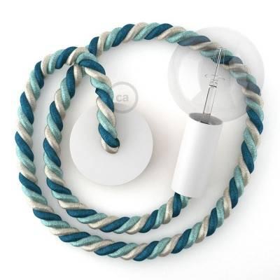Lampada a sospensione legno verniciato bianco con cordone nautico 2XL in tessuto lucido Bernadotte 24 mm, Made in Italy