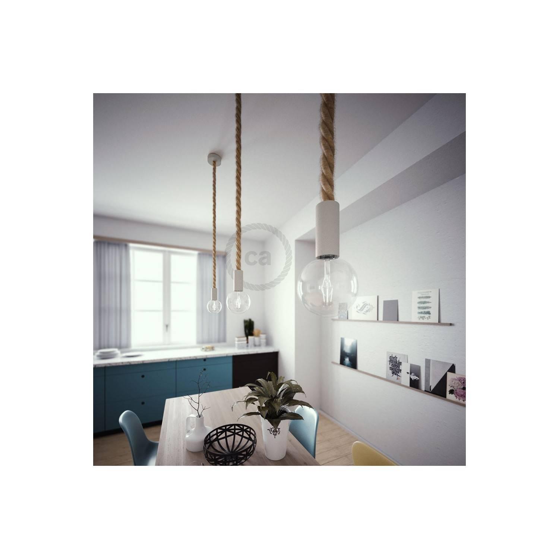 Lampada a sospensione legno verniciato bianco con cordone nautico 3XL in juta grezza 30 mm, Made in Italy