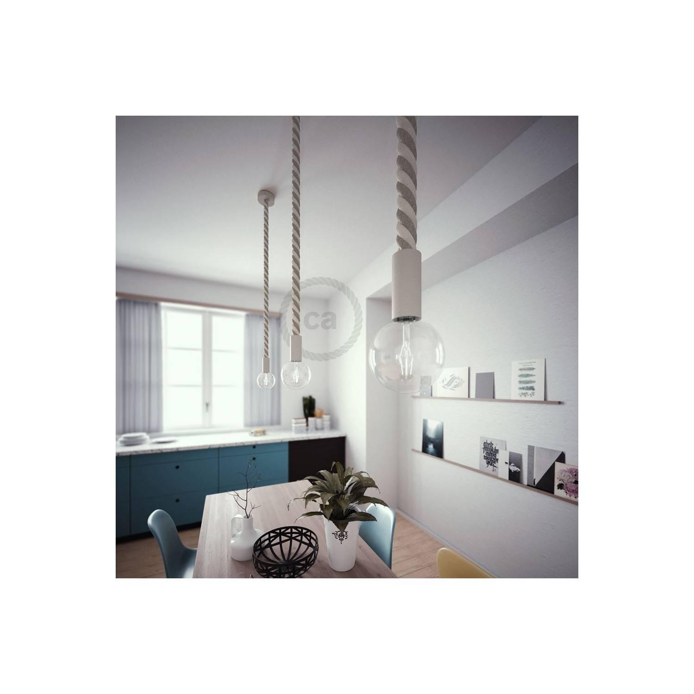 Lampada a sospensione legno verniciato bianco con cordone nautico 3XL in lino e cotone grezzo 30 mm, Made in Italy