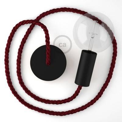 Lampada a sospensione legno verniciato nero con cordone nautico XL in tessuto bordeaux scuro 16 mm, Made in Italy